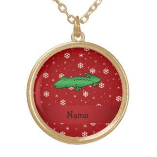 Personalized name alligator red snowflakes personalized necklace