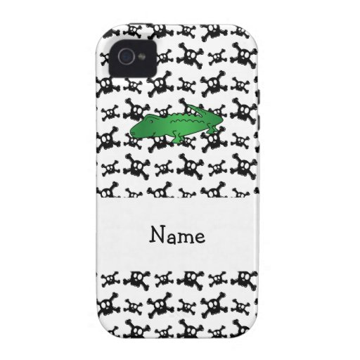 Personalized name alligator skulls pattern iPhone 4/4S covers