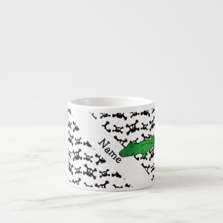 Personalized name alligator skulls pattern espresso cup