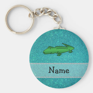 Personalized name alligator turquoise glitter keychains