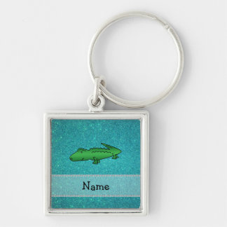 Personalized name alligator turquoise glitter key chains