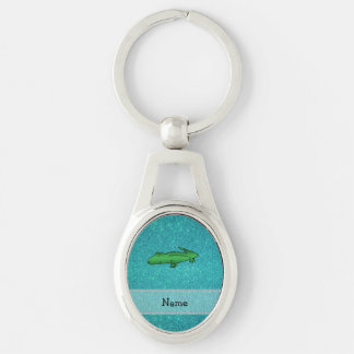 Personalized name alligator turquoise glitter Silver-Colored oval metal keychain