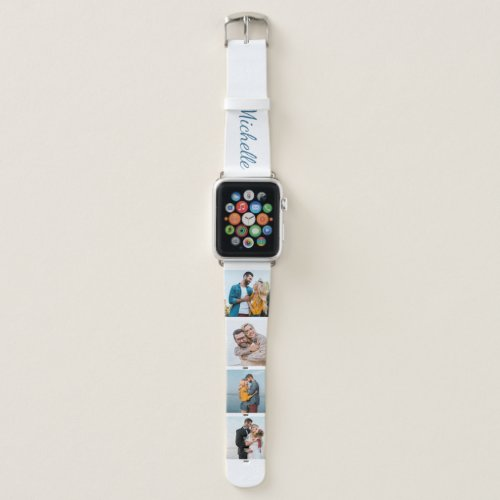 Personalized Name and 4 Photo Collage Blue Apple Watch Band