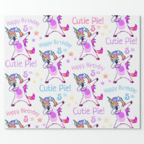 Personalized Name and Age Unicorn Birthday Party Wrapping Paper