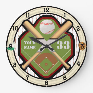 Personalized Name and Number Baseball Field Large Clock
