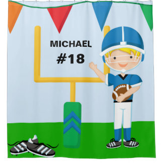 Personalized Name and Number Blue Football Player Shower Curtain