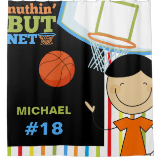 Personalized Name and Number Boys Basketball Shower Curtain