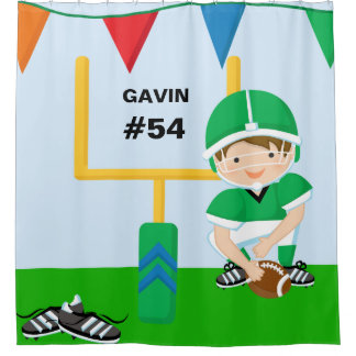 Personalized Name and Number Green Football Player Shower Curtain