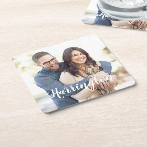 Personalized Name and Photo Square Paper Coaster
