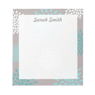 Personalized Name Aqua and Gray Floral Memo Pad