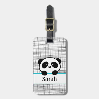 Personalized Name Aqua Panda Bear Luggage Tag