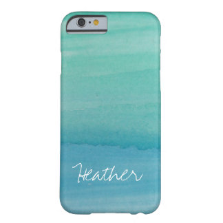 Personalized name aqua watercolor iPhone 6 case