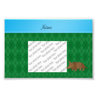 Personalized name armadillo green argyle photo print