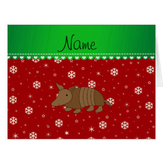 Personalized name armadillo red snwoflakes cards