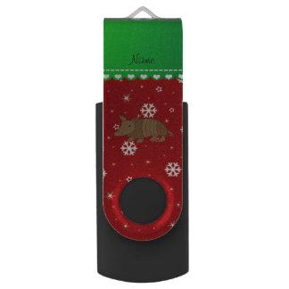 Personalized name armadillo red snwoflakes swivel USB 2.0 flash drive