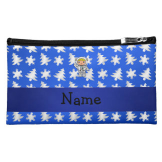 Personalized name astronaut blue snowflakes trees makeup bags