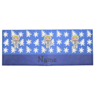 Personalized name astronaut blue snowflakes trees tyvek wallet