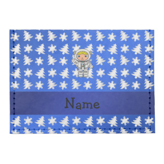 Personalized name astronaut blue snowflakes trees tyvek® card case wallet