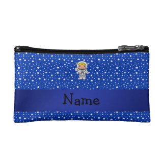 Personalized name astronaut blue stars cosmetic bags