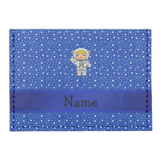 Personalized name astronaut blue stars tyvek® card wallet