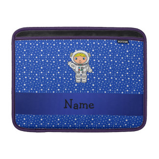 Personalized name astronaut blue stars MacBook sleeve