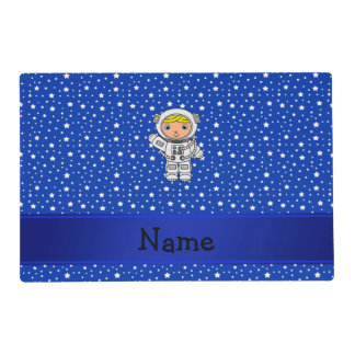 Personalized name astronaut blue stars laminated place mat
