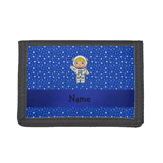 Personalized name astronaut blue stars tri-fold wallets