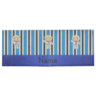 Personalized name astronaut blue stripes billfold wallet