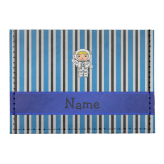 Personalized name astronaut blue stripes tyvek® card case wallet
