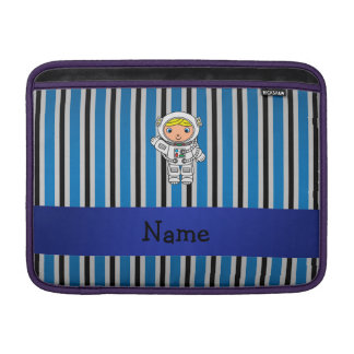 Personalized name astronaut blue stripes MacBook sleeves
