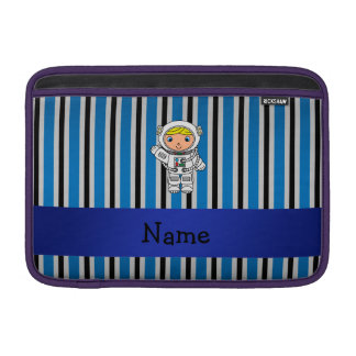 Personalized name astronaut blue stripes MacBook air sleeve