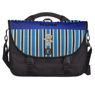 Personalized name astronaut blue stripes commuter bags