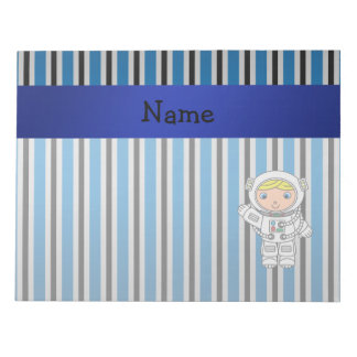 Personalized name astronaut blue stripes notepad