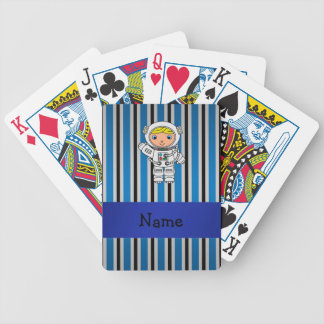 Personalized name astronaut blue stripes deck of cards