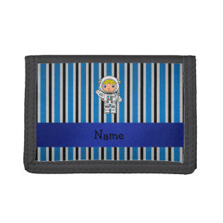 Personalized name astronaut blue stripes tri-fold wallets