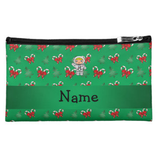 Personalized name astronaut green candy canes bows makeup bags
