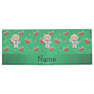 Personalized name astronaut green candy canes bows tyvek® billfold wallet