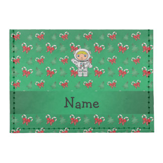 Personalized name astronaut green candy canes bows tyvek® card case wallet