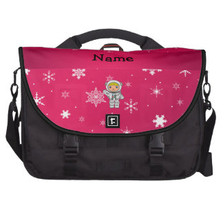 Personalized name astronaut pink snowflakes bags for laptop