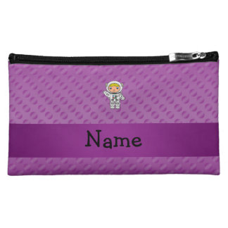 Personalized name astronaut purple polka dots makeup bags