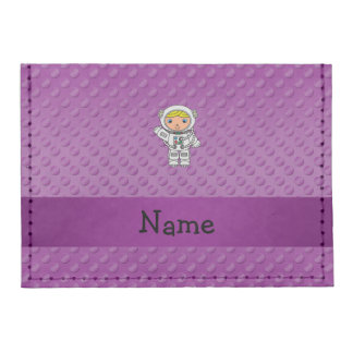 Personalized name astronaut purple polka dots tyvek® card case wallet