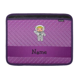 Personalized name astronaut purple polka dots MacBook sleeves