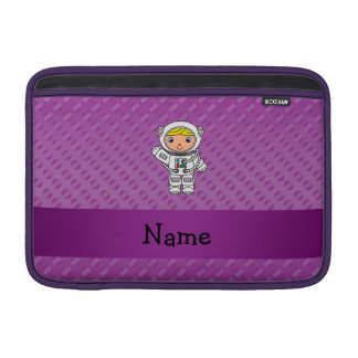 Personalized name astronaut purple polka dots sleeves for MacBook air