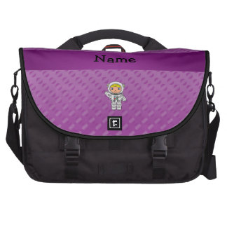 Personalized name astronaut purple polka dots bags for laptop