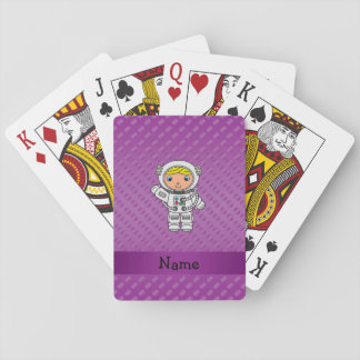 Personalized name astronaut purple polka dots deck of cards