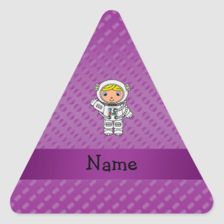 Personalized name astronaut purple polka dots stickers
