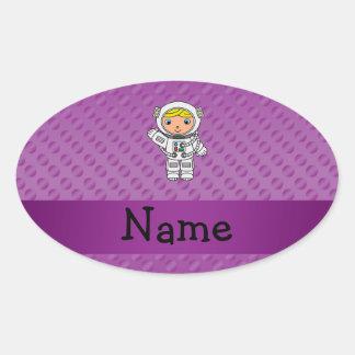 Personalized name astronaut purple polka dots sticker