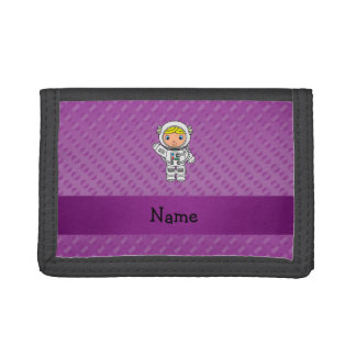Personalized name astronaut purple polka dots wallets