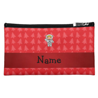 Personalized name astronaut red christmas trees makeup bag
