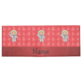 Personalized name astronaut red christmas trees billfold wallet